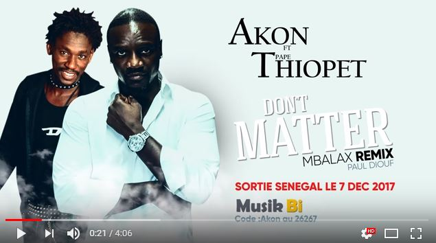 Sénégal : Akon remix Don't Matter avec PapeThiopet